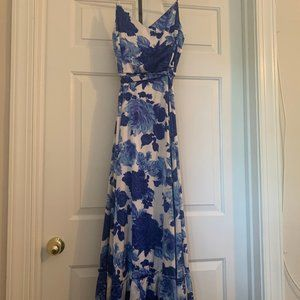 Beautiful blue floral full length dress